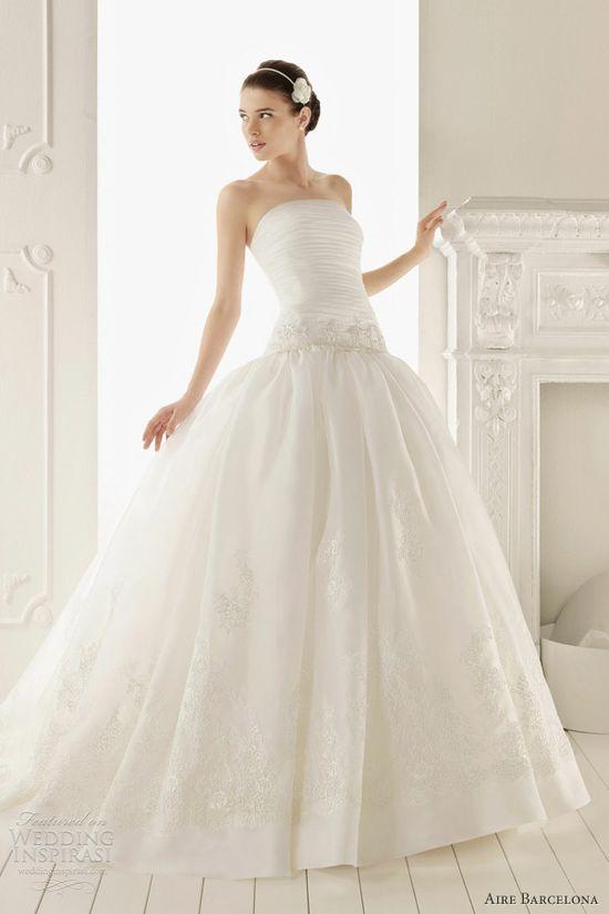 aire barcelona 2013 rebecca drop waist ball gown wedding dress