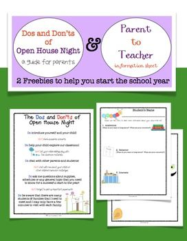 Dos & Don'ts of Open House and Parent to Teacher Info Sheet FREEBIE