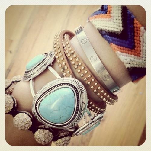 wrist pile, bracelets, turquoise bracelet, friendship bracelet, coachella