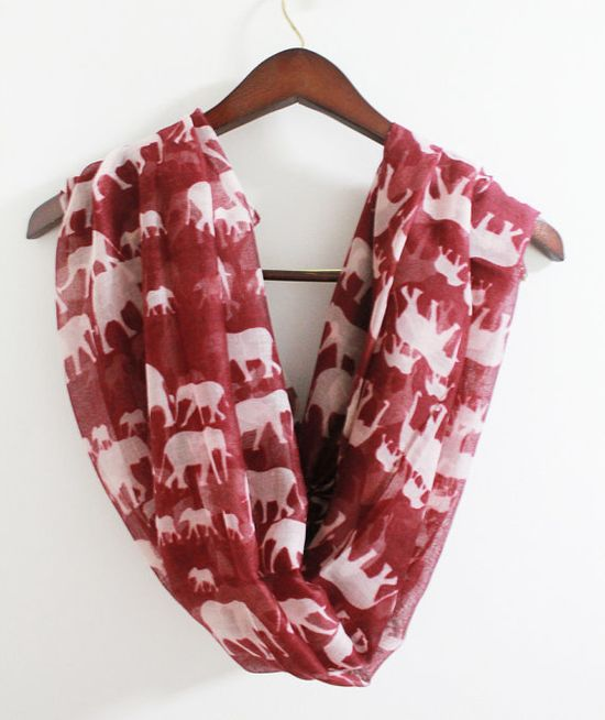 Red Infinity Scarf with White Elephant