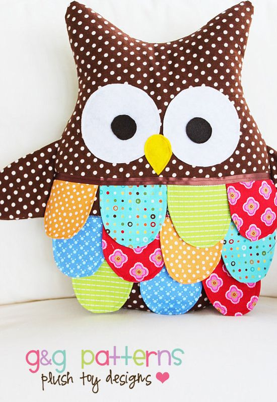"""Owl Sewing Pattern - Owl Pillow Pattern - Large Owl PDF Pattern. $10.00, via Etsy seller """"G and G Patterns"""""""