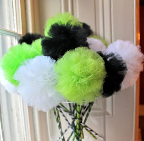 Halloween Favors: Green Black and White  Pom Pom by Pretti Mini Party Goods