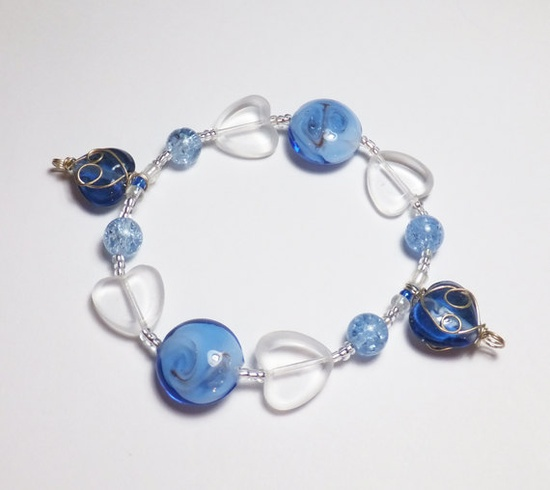 Blue and Heart Glass Sweetheart Valentine Beadwork Stretch Bracelet