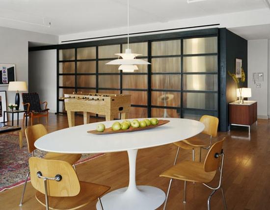 modern loft mid century interior design industrial
