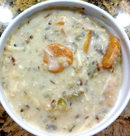 Crockpot Creamy Chicken and Wild Rice Soup from www.thisgalcooks.com
