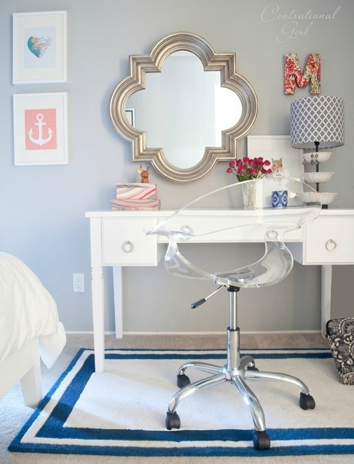 Navy + Coral Bedroom - I like the idea of adding small dashes on coral in a navy and white room to give it more of a feminine feel. This will be my sanctuary :)