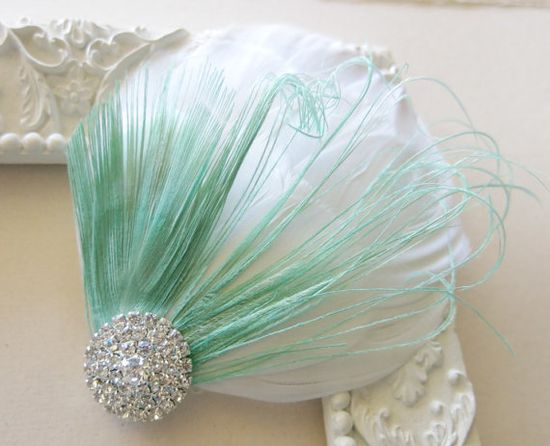 Mint White Bridal Head Piece Peacock Feather by parfaitplumes, $22.00 #Weddings#Accessories#Hair#peacock#feather#hairclip#weddinghair#bridalhair#bridalheadpiece#bridalhairpiece#fascinator#hairaccessories#hairclip#vintagewedding#white#mint#GreatGatsby#1920s