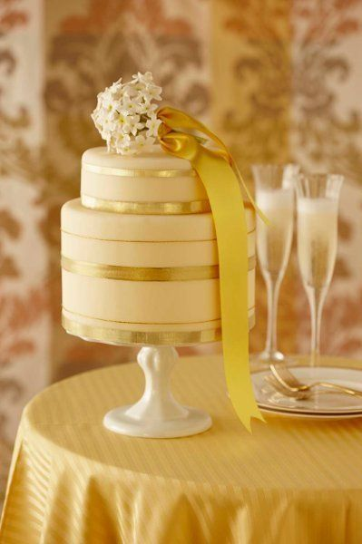 An elegant, 2-tiered yellow gold wedding cake! {Superfine Bakery}