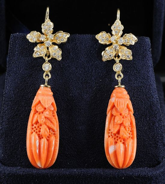 Fabulous carved coral and diamond vintage earrings. Offered by hawkantiques on Etsy.