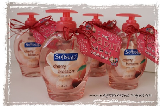 cute valentine gift for a teacher- I was soapin you'd be my valentine