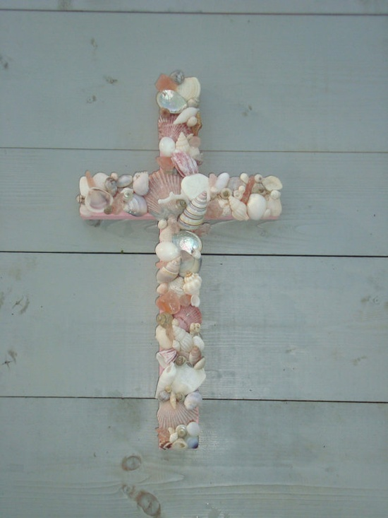Pink Seashell Cross/Baptism/Nursery by MyHoneypickles