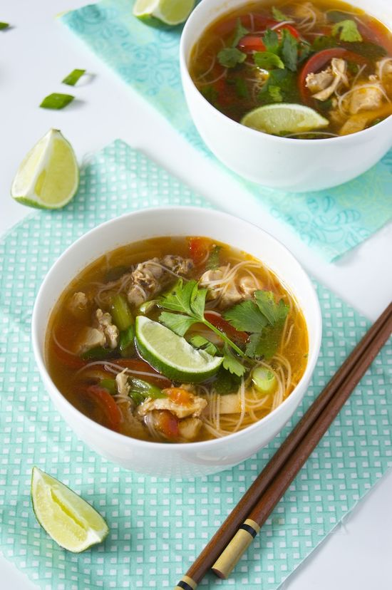 Spicy Asian Chicken Noodle Soup   Prep Time: 10 minutes; Cook time: 30 minutes.