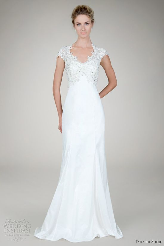 This    tadashi shoji fall 2012 bridal beaded lace taffeta wedding dress