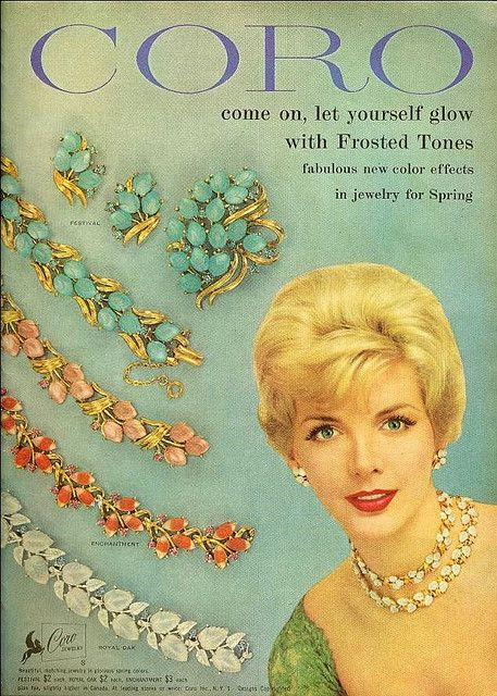 Come on, let yourself glow... vintage Coro jewelry ad from Mademoiselle, February 1959