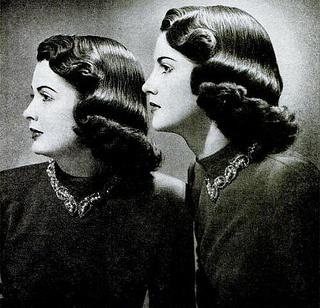 Lucerene and Suzanne McCullough of NYC model their Tony Home Permanents, 1948. #vintage #1940s #hair #hairstyles