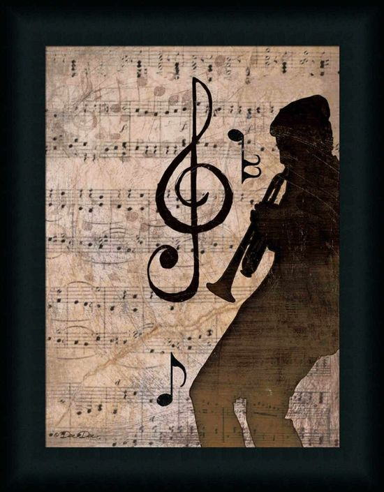 Rhythm II Vintage Music Notes Trumpet Art Print Framed