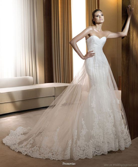 Pronovias 2011 Bridal Gown Collection - Finisterre wedding dress with double skirt of sheer lace hem tulle over mermaid skirt