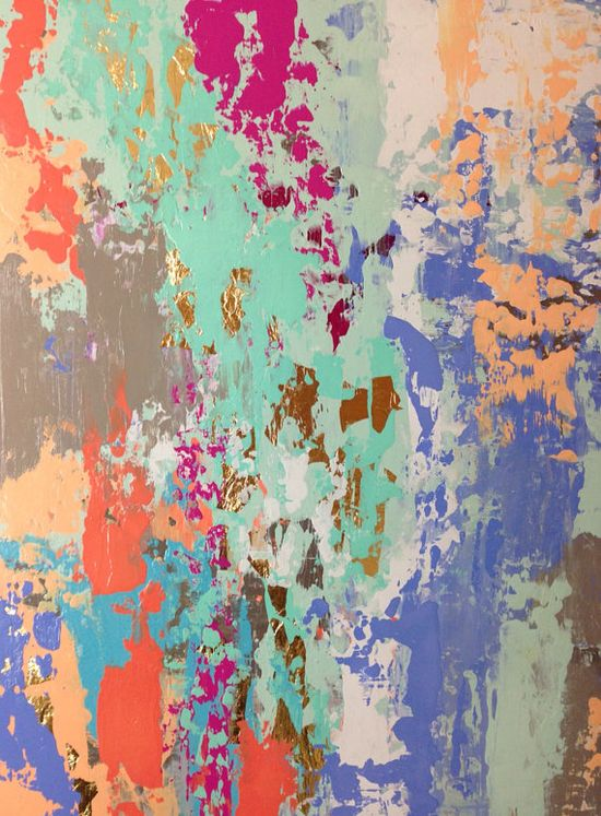 Pastel Abstract Painting with Gold Leaf by JenniferFlanniganart, $199.00