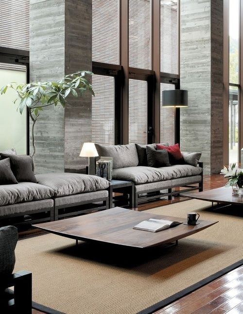 Straight lines are found in the windows, the couches, and the tables