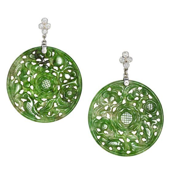 Edwardian Finely Carved Jade Earrings with Diamond Earrings