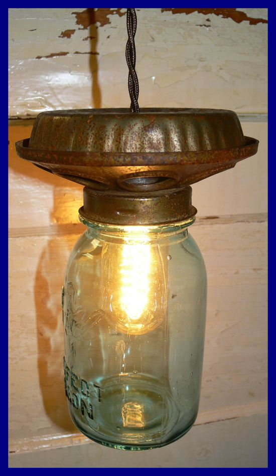 Chicken Feeder Light with BLUE Ball Perfect Mason Jar by pablowood, $45.00