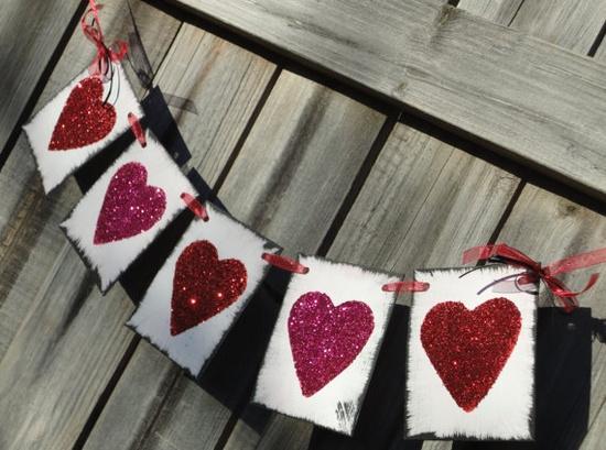 Glitter Heart Banner READY TO SHIP by TaraAlexanderDesigns