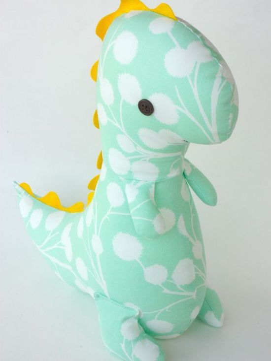 "So cute! Dinosaur pattern from Bit Of Whimsy! I love her patterns so much. I made the "" Jane"" for my niece for Christmas! They're really easy to sew and SO adorable"