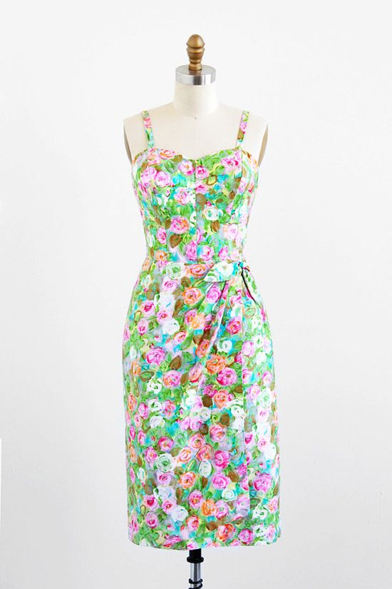 vintage 1950s green + pink watercolor floral dress by Alix of Miami.