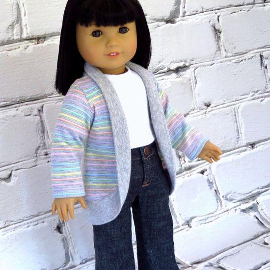 Rainbow Stripe Trendy Cardigan - American Girl Doll Clothes Jacket