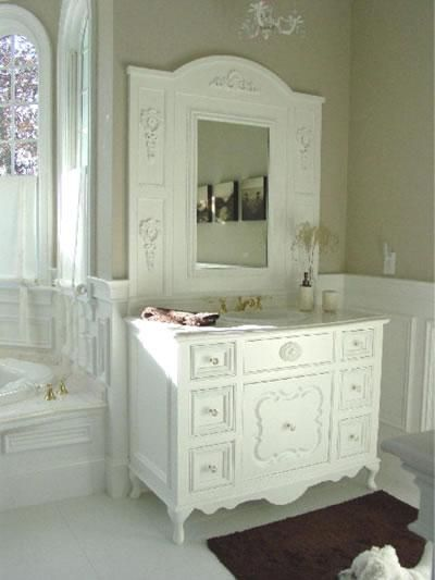 Shabby Chic Bathroom - Shabby chic can extend into your bathroom, as well. An old dresser can be turned into a shabby chic vanity.