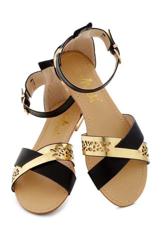 Glam pool Sandals? - Black, Gold, Cutout, Summer, Flat, Faux Leather