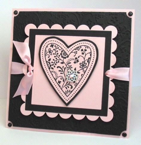 Gorgeous heart card in black & pink