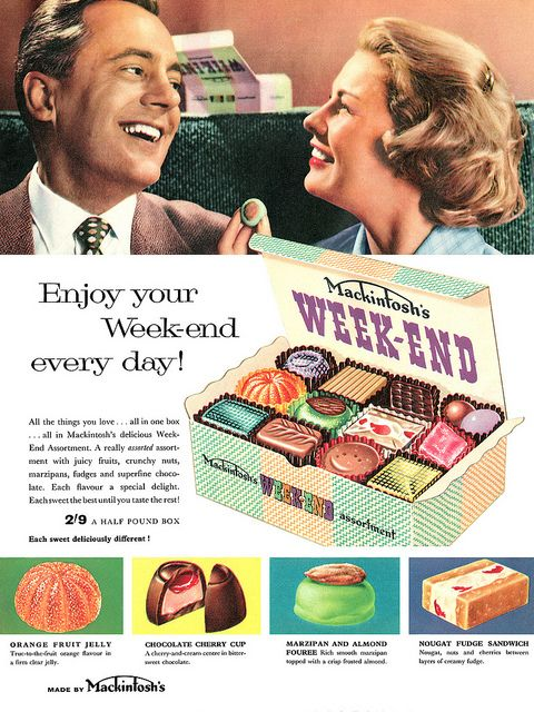 Enjoy your weekend every day! #vintage #1950s #chocolates #food #ads