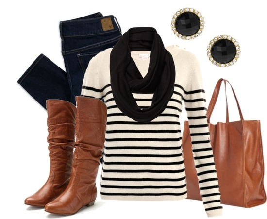 """Black & Brown: Stripes"" by qtpiekelso on Polyvore"