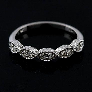 Diamond Vintage Style Diamond Wedding Band Ring 14K by OroSpot, $349.00