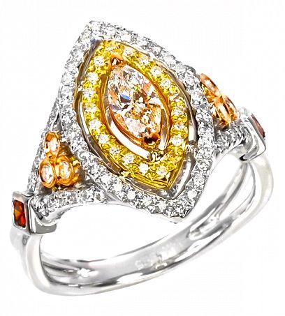 White and Orange Diamond Ring