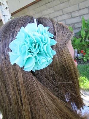 Scrunch Fabric Flower Pom Pom Headband Tutorial