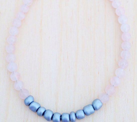 Rose Quartz Bracelet  Gemstone Jewelry by FredericaDixon on Etsy, £5.99