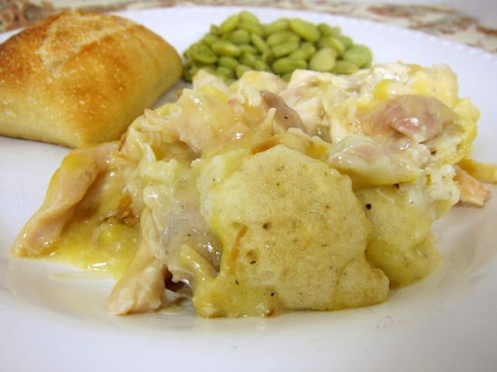 Chicken & Dumpling Casserole - use a rotisserie chicken or leftover turkey (add turkey drippings to chicken broth for extra flavor), so easy!