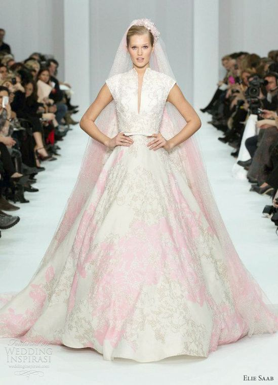 Elie Saab pink and white wedding dress Spring 2012