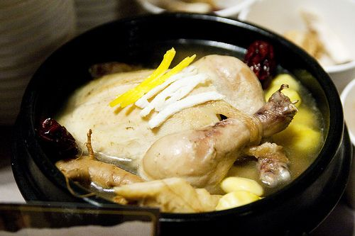 Samgyetang or Ginseng Chicken Soup... A Korean soup served in the summer to replace nutrients lost while sweating or through physical exertion