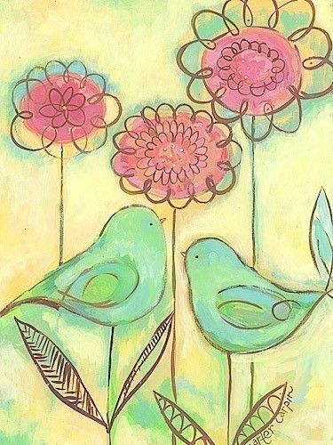 Green Love Birds by pcartercarpin on Etsy, $24.00