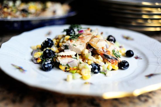 Grilled chicken salad with fresh corn, feta, and blueberries - from The Pioneer Woman