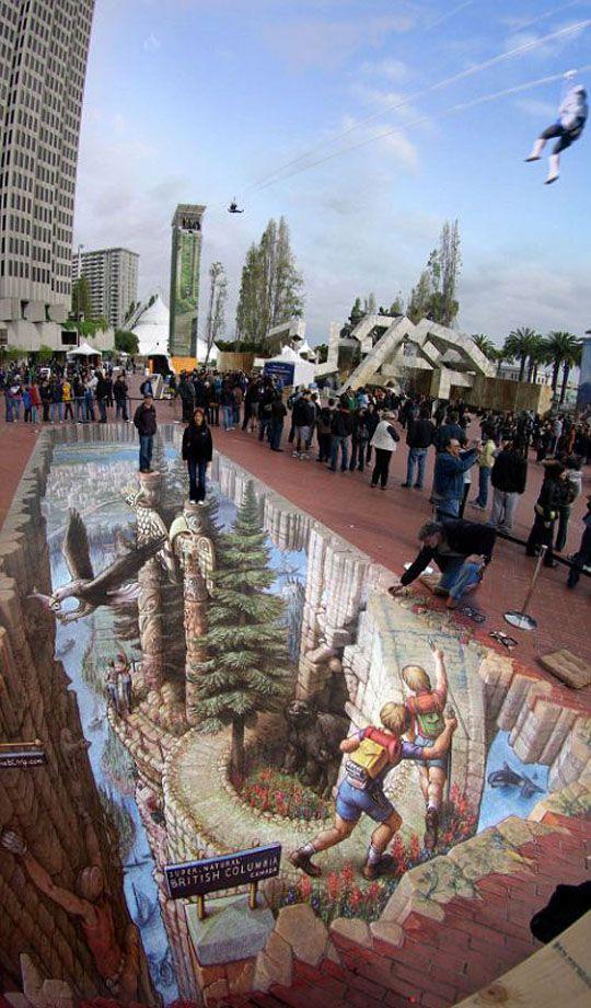 3D sidewalk art of Kurt Wenner.