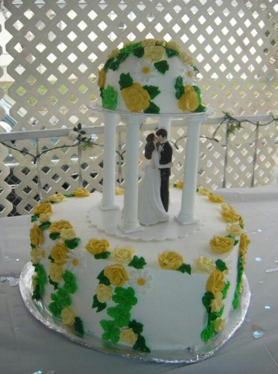 Romantic wedding or anniversary cake.
