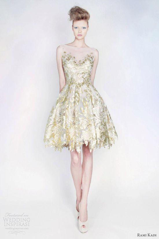 rami kadi spring 2013 silk tulle lurex blend puff dress gold