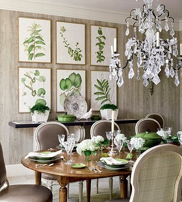 Kelly green dining room accents and rock crystal French chandelier - Veranda