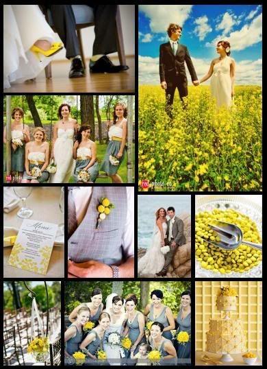 Yellow and Grey wedding color theme