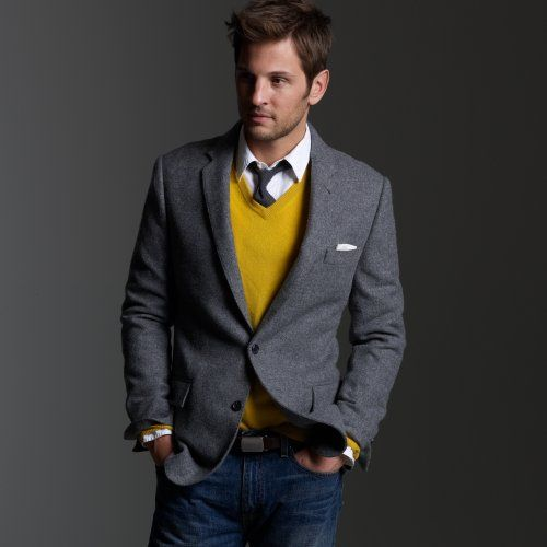 grey vest, yellow v-neck sweater, shirt, blue jeans / men fashion