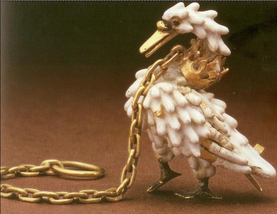 gold and enamel swan; British Museum; c. 1400.